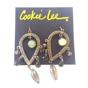 Cookie Lee bronze crystal earrings